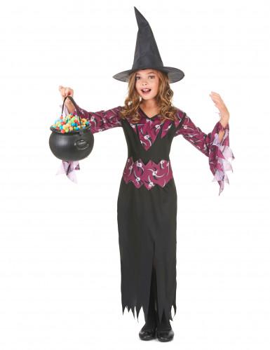 Costume da strega viola con teschi per bambina