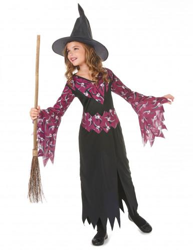Costume da strega viola con teschi per bambina-1