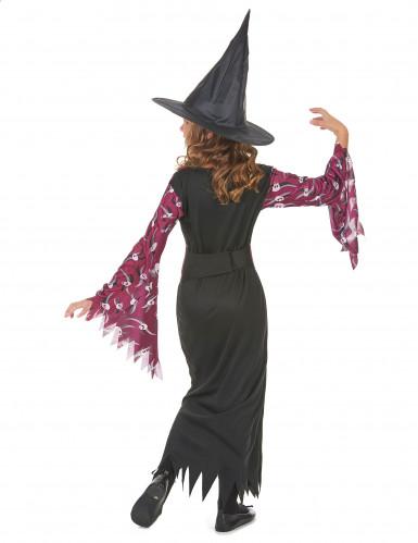 Costume da strega viola con teschi per bambina-2