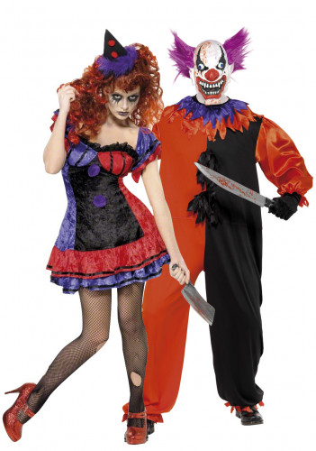 Costumi da coppia di clown terrificanti Halloween