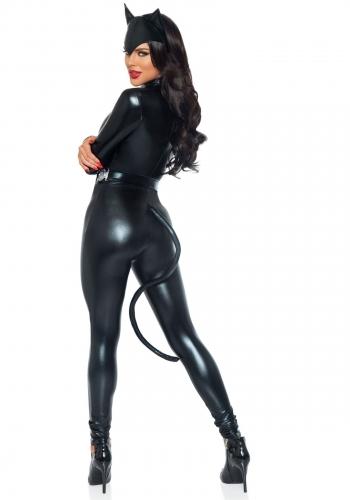 Costume gatto sexy donna in simil pelle-1