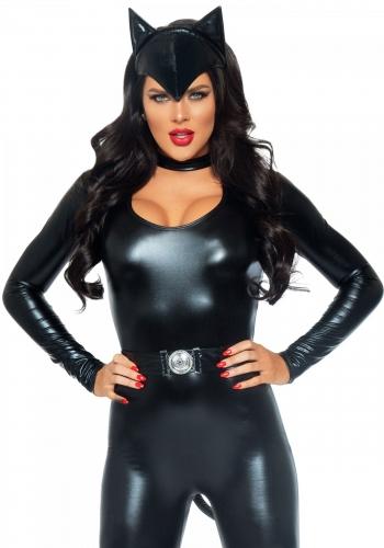 Costume gatto sexy donna in simil pelle-2