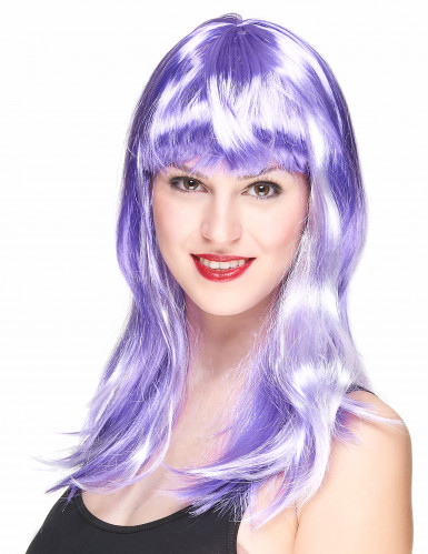 Parrucca lunga viola e bianca donna