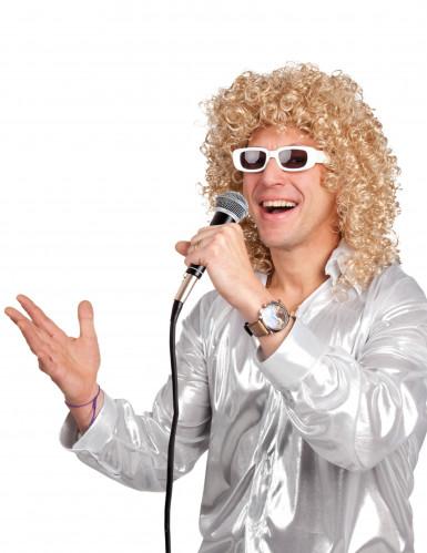 Parrucca riccia bionda con occhiali bianchi uomo