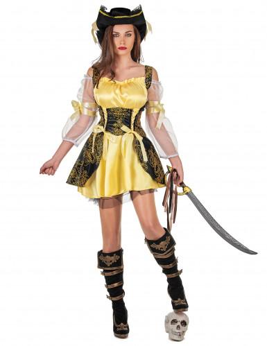 Costume da pirata dorato per donna