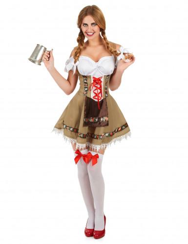 Costume da bavarese bianco e beige per donna