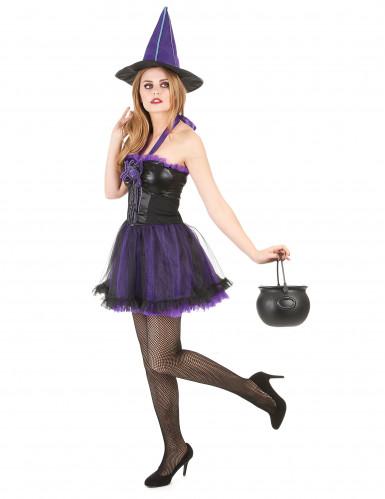 Costume da strega con tutù viola per donna-1