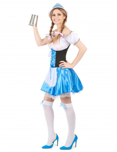 Costume da bavarese bianco e azzurro per donna-1