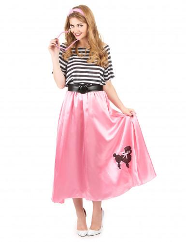 Costume anni '50 rosa e nero donna