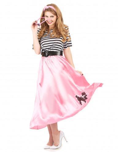 Costume anni '50 rosa e nero donna-1