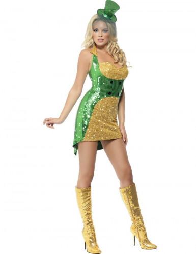 Costume da Irlandese sexy con paillettes donna
