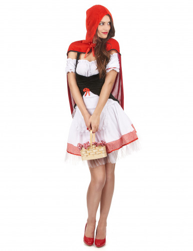 Costume Cappuccetto Rosso con abito bianco da donna