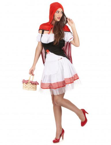 Costume Cappuccetto Rosso con abito bianco da donna-1