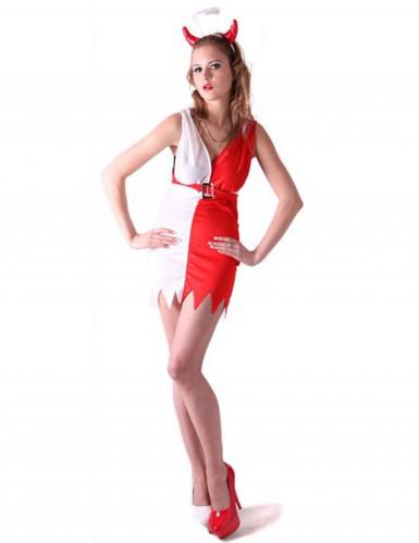 Costume diavolessa bianco e rosso donna