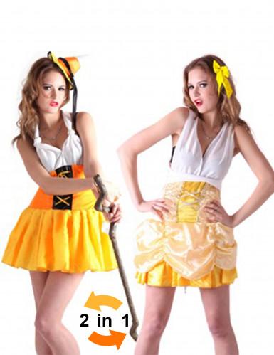 Costume reversibile Heidi e Principessa donna