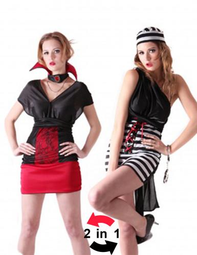 Costume reversibile carcerata e vampiro donna