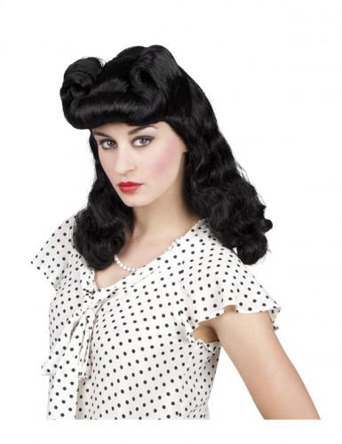 Parrucca nera ondulata anni '50 donna