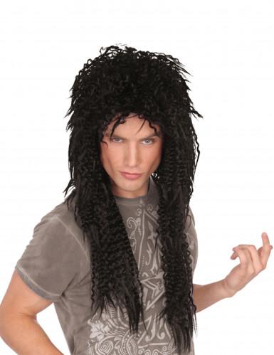 Parrucca nera riccia lunga punk uomo