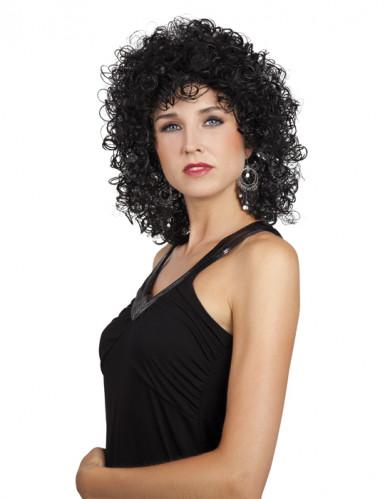 Parrucca riccia nera donna