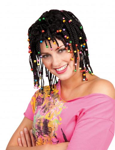 Parrucca rasta nera con perline donna