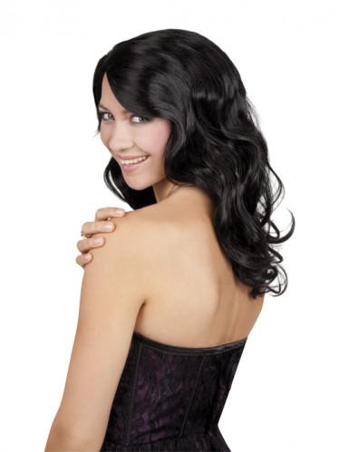 Parrucca lunga nera ondulata donna