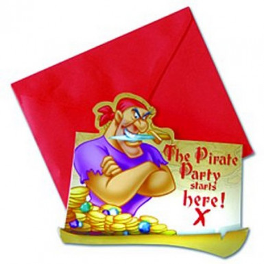 6 biglietti d'invito Pirati Disney™