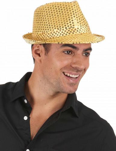 Cappello paillettato dorato adulto-1