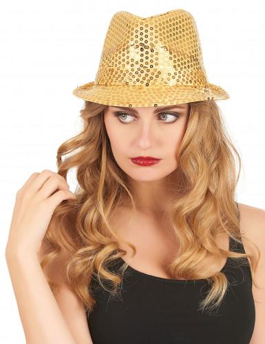 Cappello paillettato dorato adulto-2