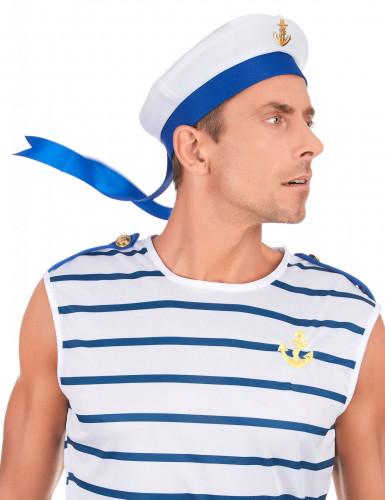 Cappello da marinaio bianco e blu per adulto-2