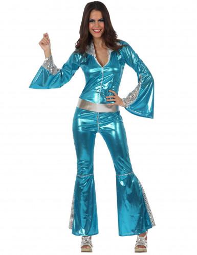 Costume disco blu metallizzato per donna