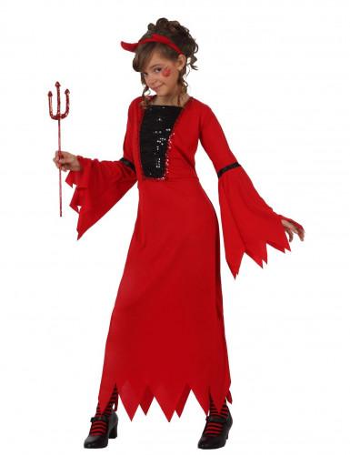 Costume lungo da diavolessa bambina
