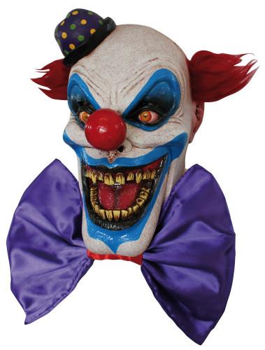 Maschera clown spaventoso con grande sorriso adulto Halloween