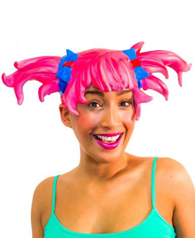 Parrucca manga rosa adulto donna