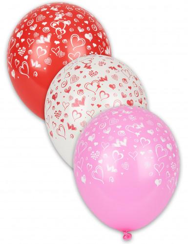 8 palloncini cuori stampati
