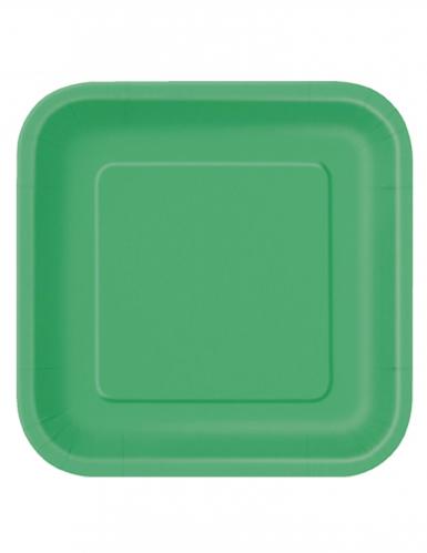 14 piatti di cartone verde smeraldo grandi