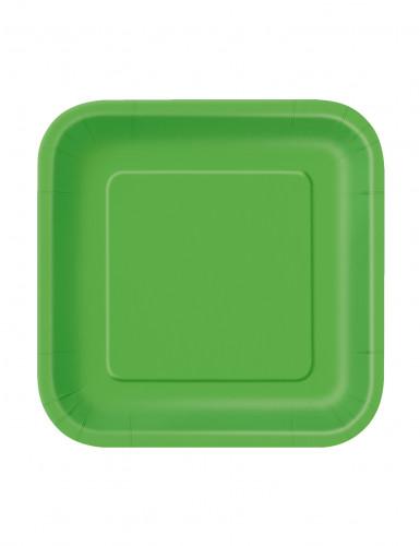 16 piatti quadrati di cartone verdi