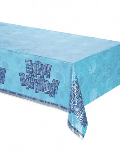 Tovaglia plastica Happy Birthday blu