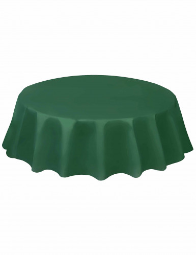 Tovaglia tonda in plastica verde scuro