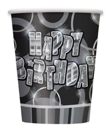 8 bicchieri Happy Birthday neri e grigi
