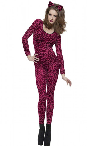 Costume leopardo rosa adulto