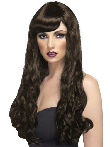 Parrucca lunga ondulata castano scuro Donna