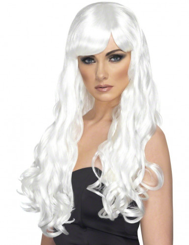 Parrucca lunga ondulata bianca donna