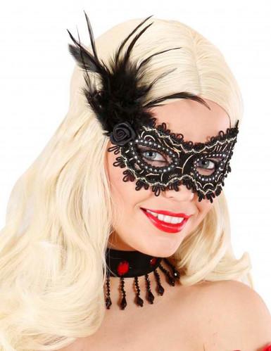 Maschera nera e dorata con piume adulto