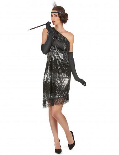 reputable site 1a819 d32ae Costume anni 20 da donna nero e argento