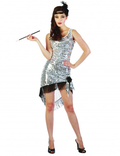 Costume charleston sexy donna argentato