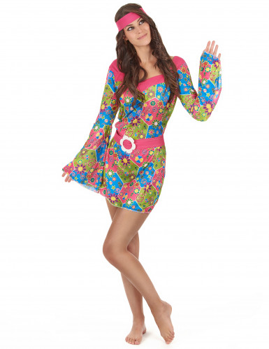 Costume Hippy floreale multicolore per donna