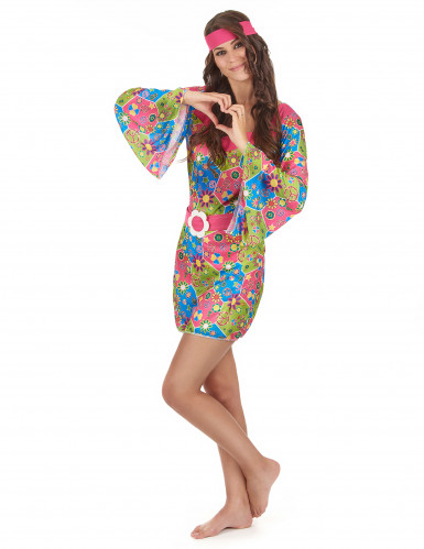 Costume Hippy floreale multicolore per donna-1