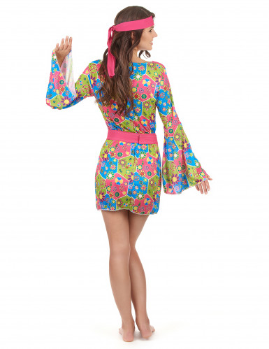Costume Hippy floreale multicolore per donna-2