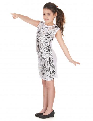 Costume disco argentato a pailletes bambina-1