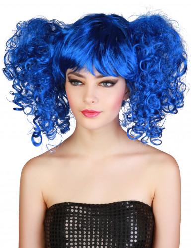Parrucca blu a boccolli donna